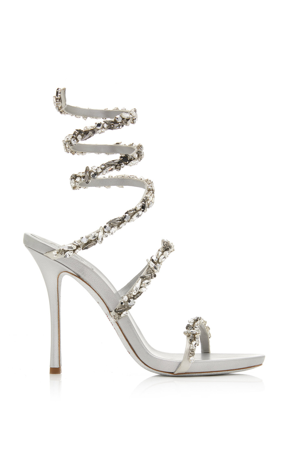 Rene Caovilla Crystal-Embellished Satin Snake-Coil Sandals in silver
