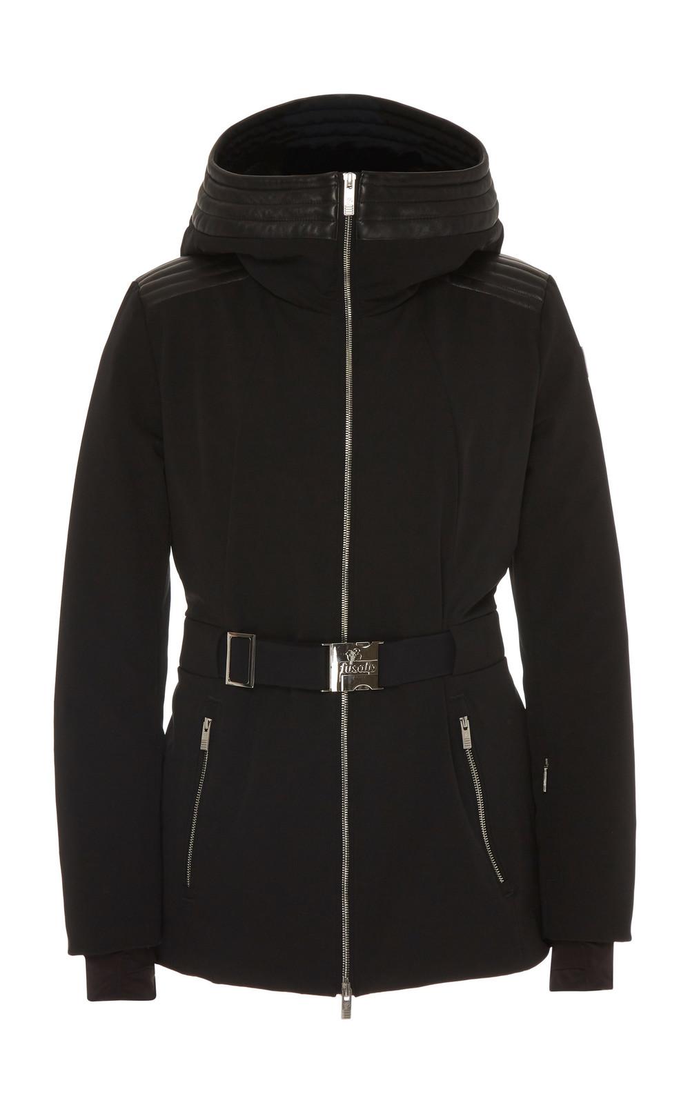 Fusalp Belted Leather-Trimmed Shell Ski Jacket Size: 36 in black