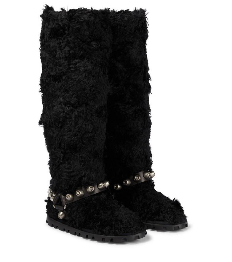 Miu Miu Faux shearling knee-high boots in black