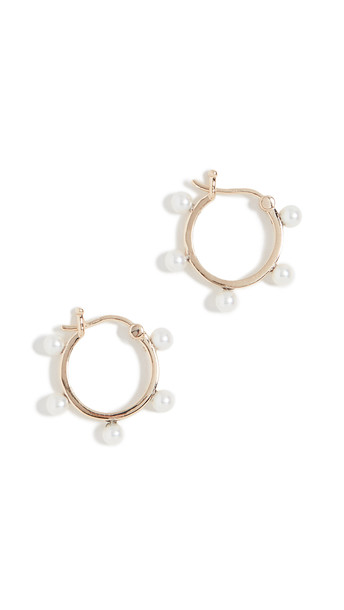 Mateo 14k Freshwater Cultured Pearl Dot Hoop Earrings in gold / yellow