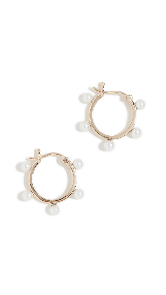 Mateo 14k Freshwater Cultured Pearl Dot Hoop Earrings in gold / yellow