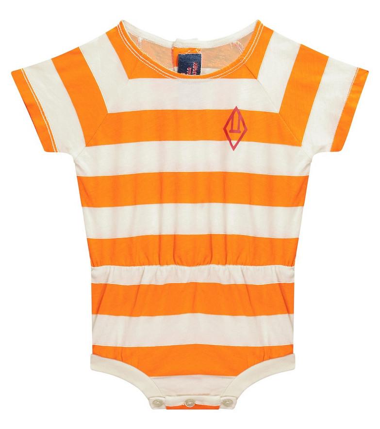 The Animals Observatory Baby Rabbit striped cotton bodysuit in orange