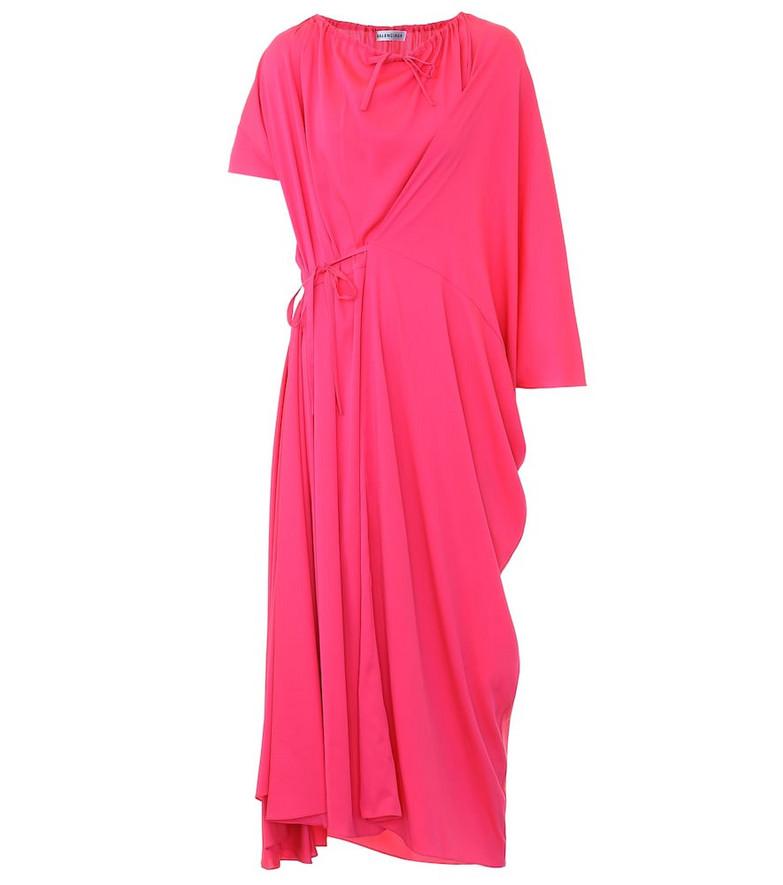 Balenciaga Asymmetric crêpe midi dress in pink
