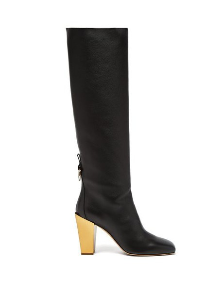 Salvatore Ferragamo - Blavy Over The Knee Leather Boots - Womens - Black