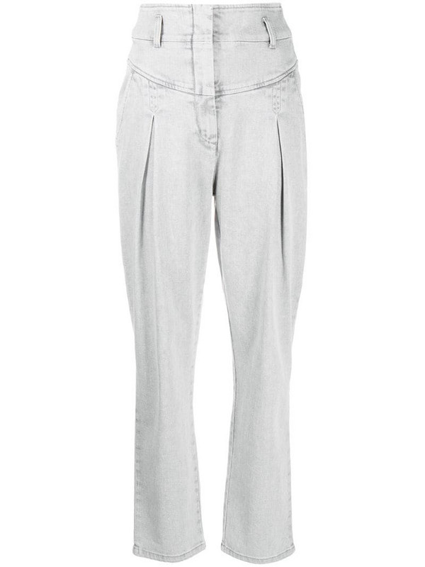 Alberta Ferretti high-waisted pleated jeans in grey