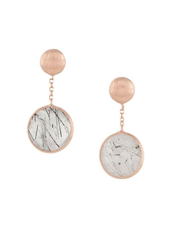 Tateossian 14kt rose gold round Kensington double drop earrings