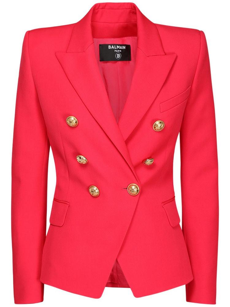 BALMAIN Wool Grain De Poudre Blazer Jacket in fuchsia