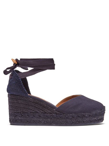 Castañer - Chiara 60 Canvas & Jute Espadrille Wedges - Womens - Navy