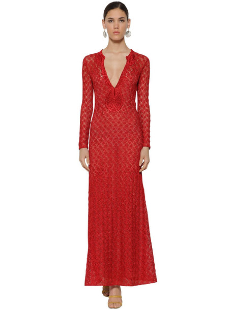 MISSONI Long V Neck Lace Knit Lamé Dress in red
