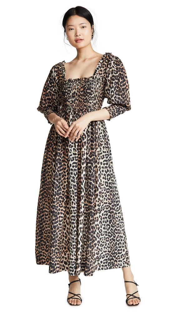 GANNI Cotton Silk Dress in leopard