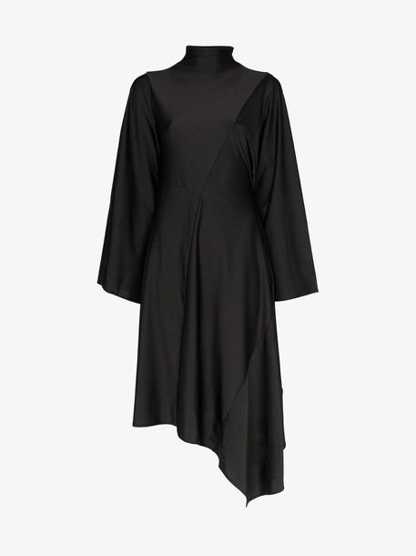 AMBUSH asymmetric midi dress in black