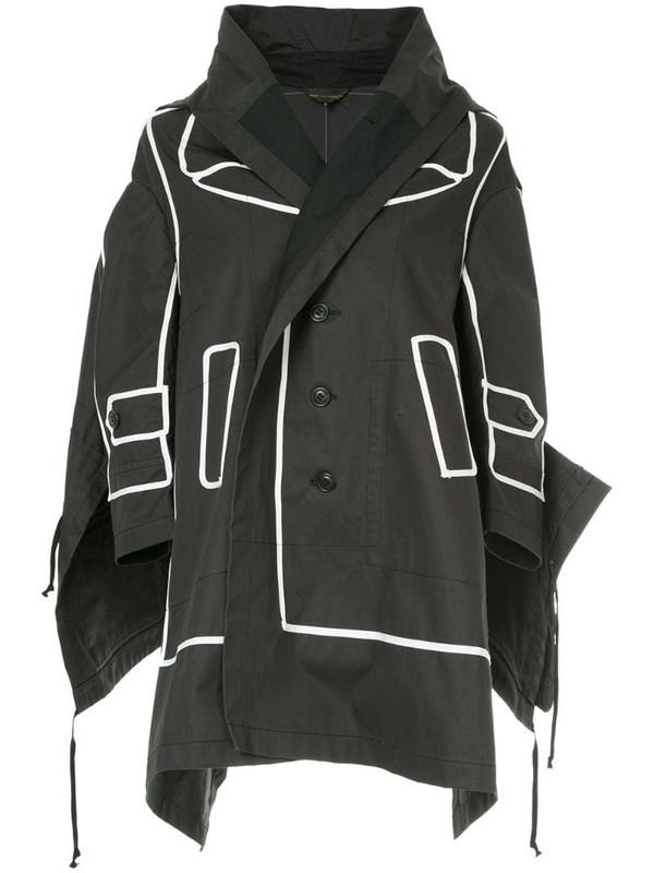 Comme Des Garçons Pre-Owned contrast-trim draped jacket in black