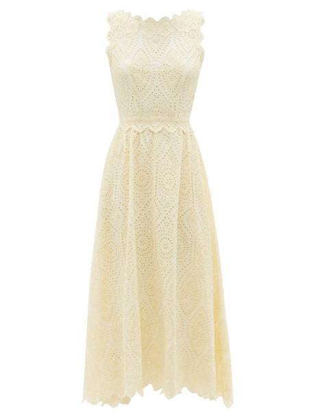 Luisa Beccaria - Broderie-anglaise Cotton-poplin Midi Dress - Womens - Ivory