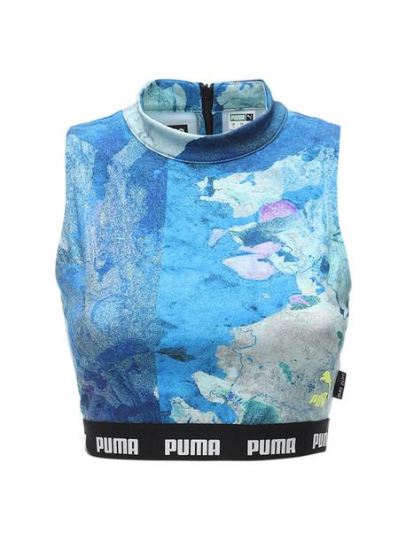 PUMA SELECT Logo Tech Crop Top in blue / yellow