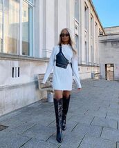 shoes,black boots,over the knee boots,white dress,mini dress,bag