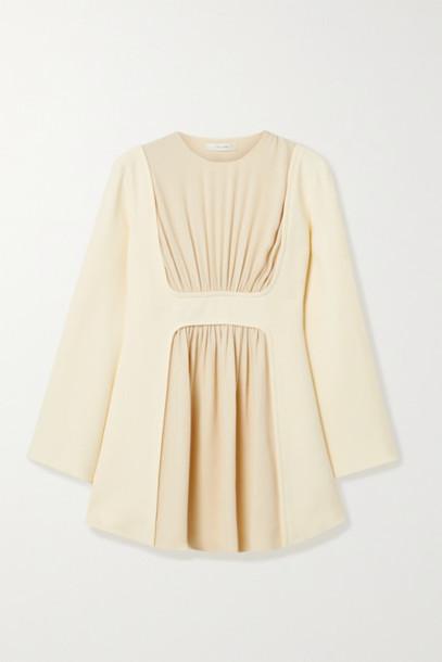The Row - Polina Gathered Silk-crepe Top - Cream