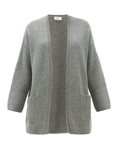 Allude - Rib Knitted Cashmere Cardigan - Womens - Grey