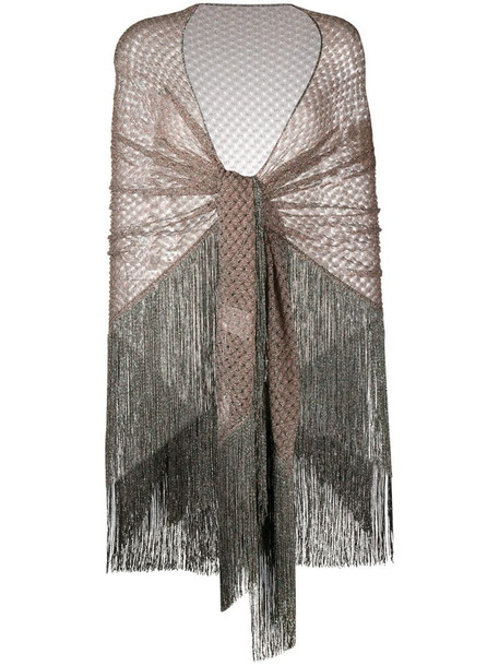 Missoni fringed sheer scarf in pink