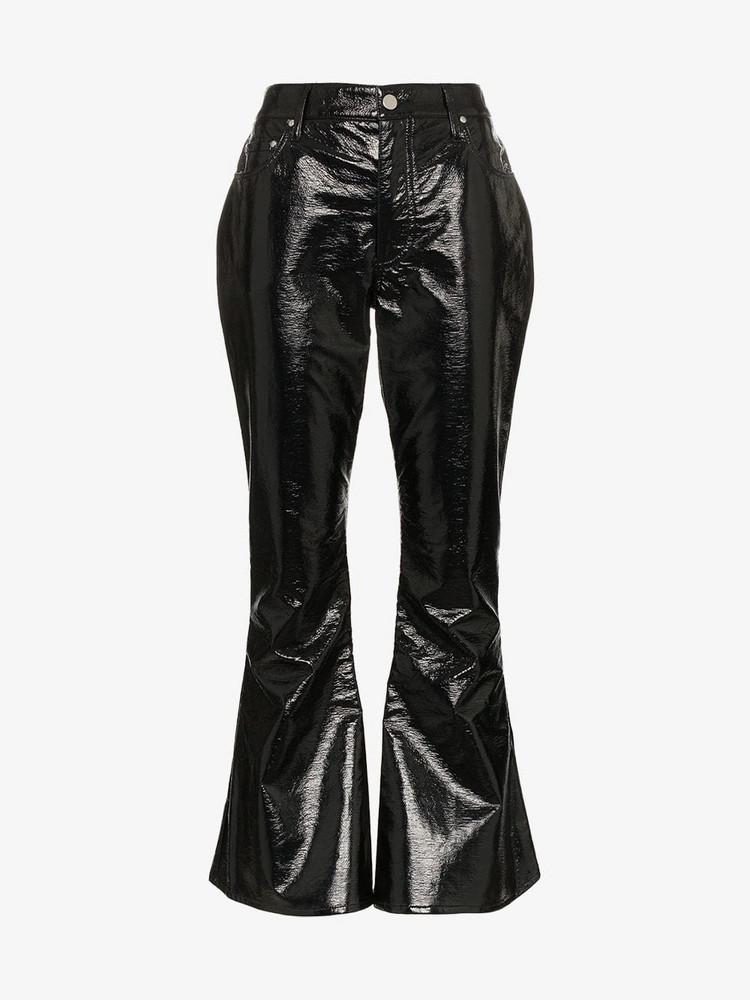 Beaufille Veritas kick flare vinyl trousers in black