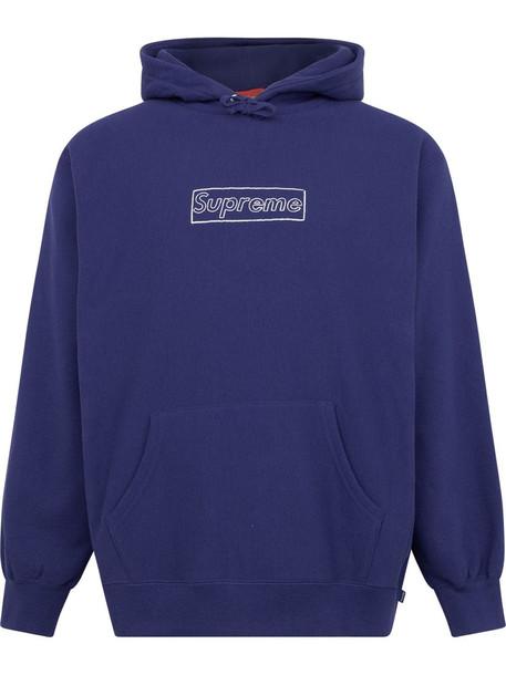 Supreme x Kaws chalk logo hoodie - Blue