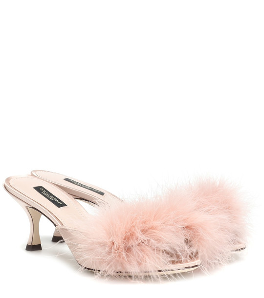 Dolce & Gabbana Feather-trimmed satin sandals in pink