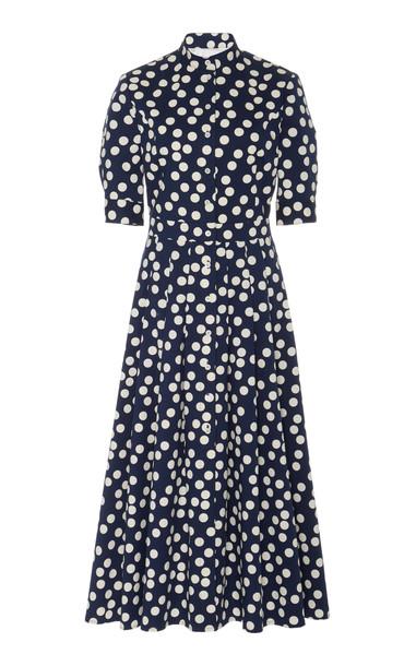 Carolina Herrera Mandarin Collar Shirt Dress Size: 2 in navy