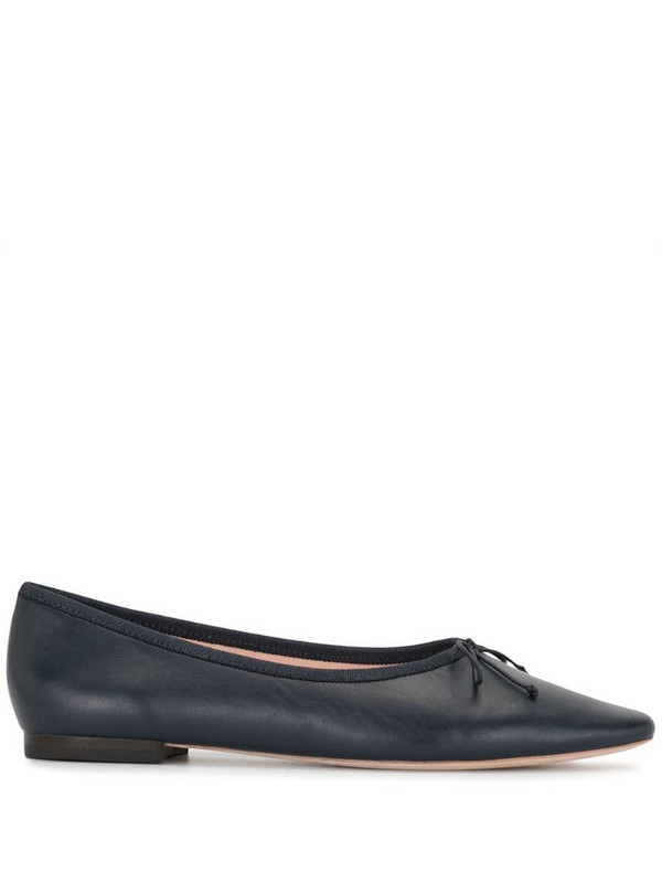 Loeffler Randall bow-detail leather ballerina shoes in blue