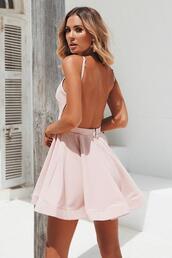 dress,backless dress,mini dress,blush,cocktail dress,dressy