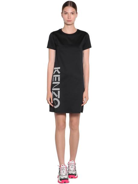 KENZO Side Logo Cotton Jersey T-shirt Dress in black