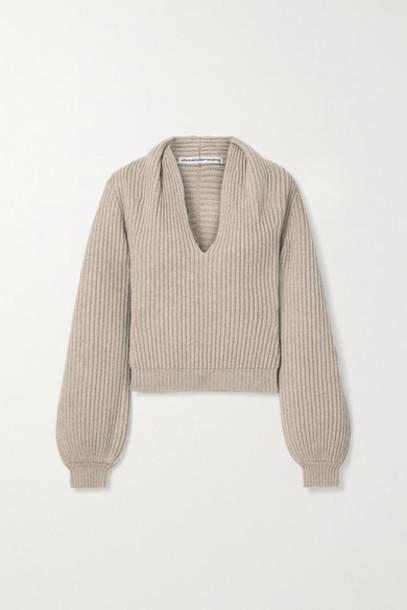 Alexander Wang - Ribbed Wool-blend Sweater - Mushroom
