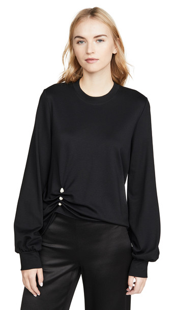 Adeam Imitation Pearl Sweatshirt in black