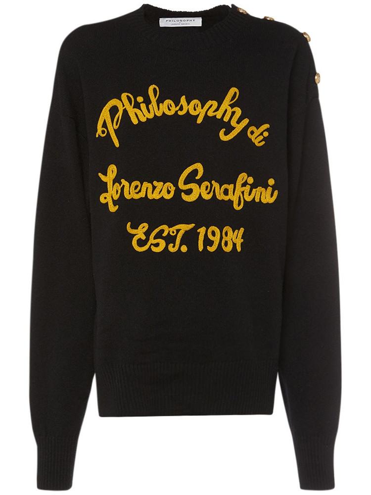 PHILOSOPHY DI LORENZO SERAFINI Embroidered Logo Wool Sweater in black