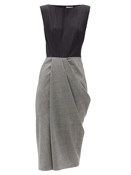 Alexander Mcqueen - Pinstripe And Checked Wool-blend Midi Dress - Womens - Grey Multi