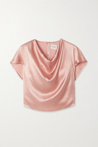 Le Kasha - Tarim Draped Silk-satin Top - Pink