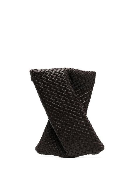 Bottega Veneta woven-effect clutch bag in brown