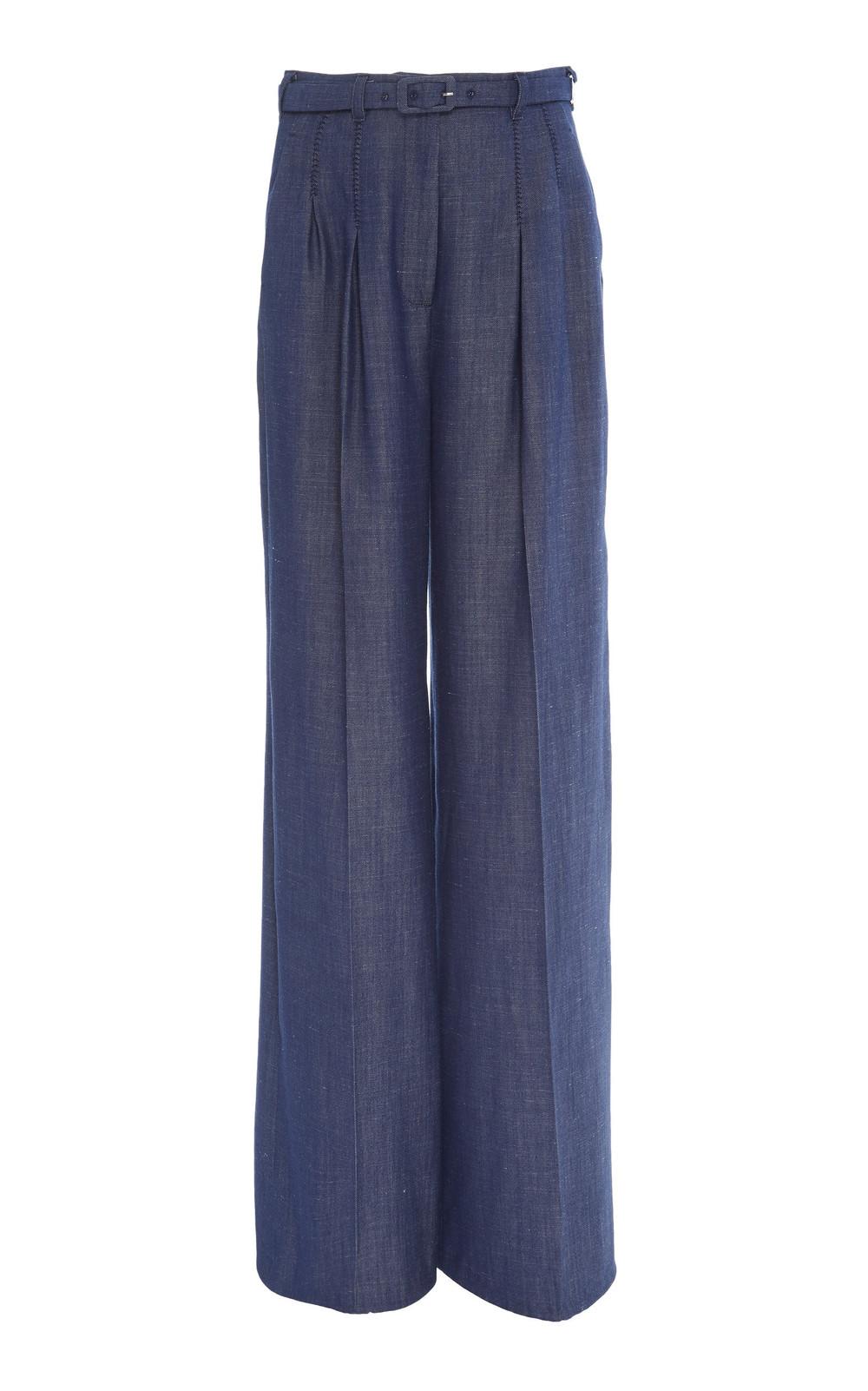 Gabriela Hearst Vargas Wool-Linen Twill Wide-Leg Pants in navy