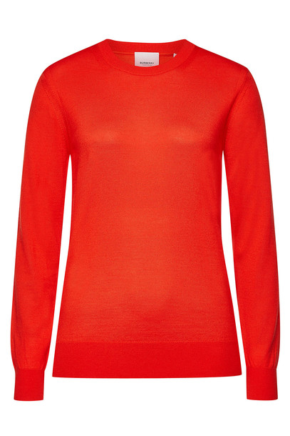 Burberry Bempton Merino Wool Pullover with Elbow Patches  in red