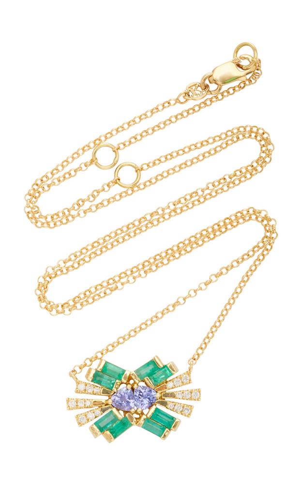 Carol Kauffmann Tanzanite, Emerald and Diamond Pendant Necklace in gold