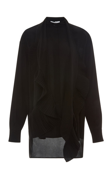 Givenchy Scarf Neck Silk Georgette Shirt Size: 42 in black