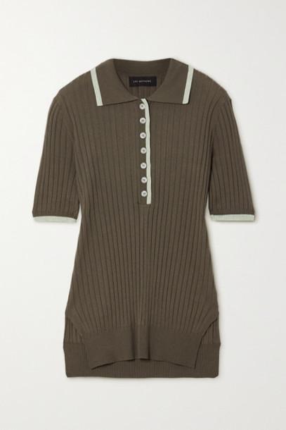 Lee Mathews - Ribbed Tencel Polo Shirt - Army green
