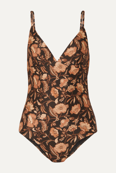 Matteau - Floral-print Swimsuit - Brown