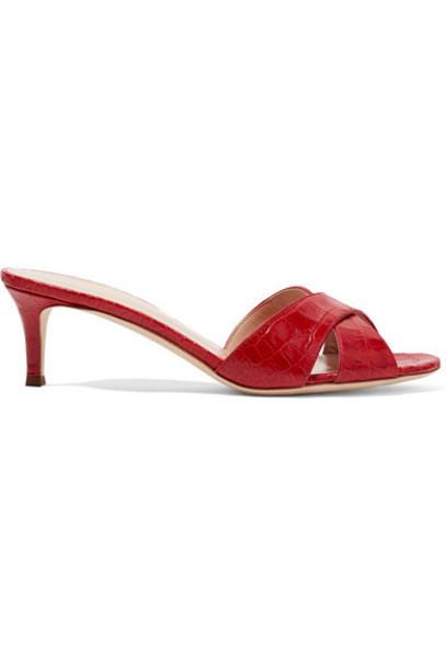 Giuseppe Zanotti - Croc-effect Leather Sandals - Crimson