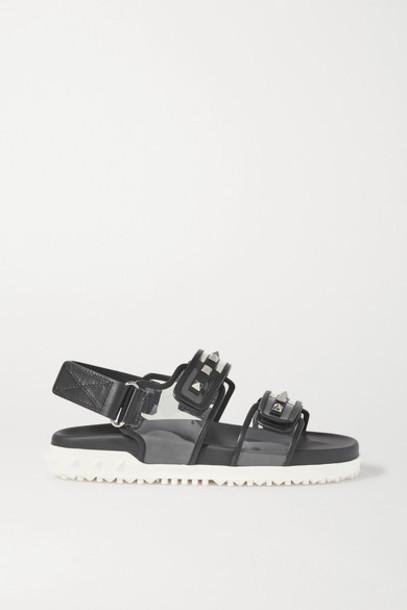 Valentino - Valentino Garavani Rockstud Leather And Pvc Sandals - Clear