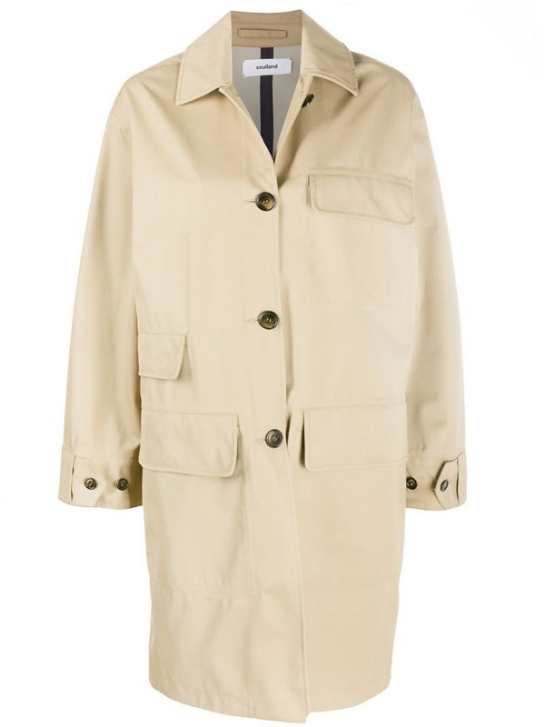 Soulland Vero single-breasted coat in neutrals