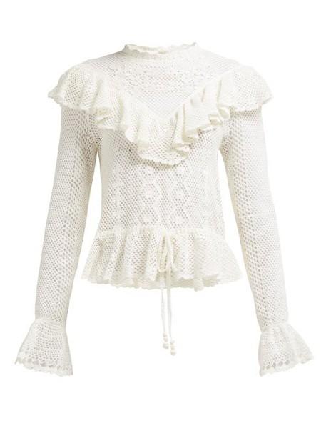 Zimmermann - Allia Ruffle Trim Crochet Top - Womens - White
