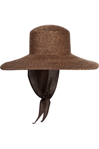CLYDE - Cotton Gauze-trimmed Straw Sunhat - Brown
