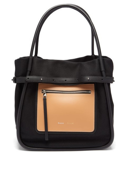 Proenza Schouler - Inside Out Canvas And Leather Tote Bag - Womens - Black Multi