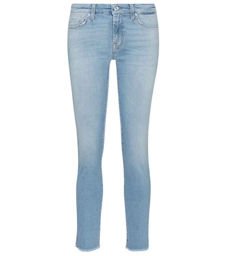 7 For All Mankind Pyper cropped mid-rise skinny jeans in blue