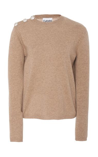 Ganni Button-Trim Cashmere Sweater in neutral