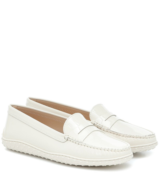 Tod's Gommino patent leather loafers in white